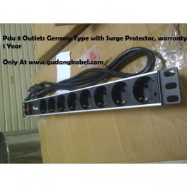 PDU 8 Outlets Germany type,16A, with surge protector, bergaransi 1 tahun